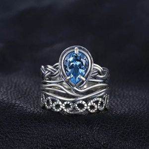 Jewelry - Real blue topaz sterling silver ring, vintage ring